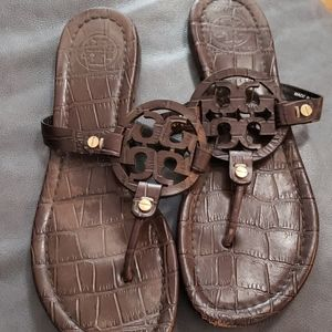 Tory Burch gold brown crocodile leather sandals